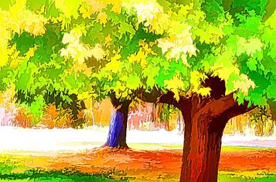 Fall Leaves Trees 1 Print by Lanjee Chee