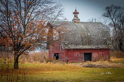 Fall Red Barn Print by Jeffrey Henry