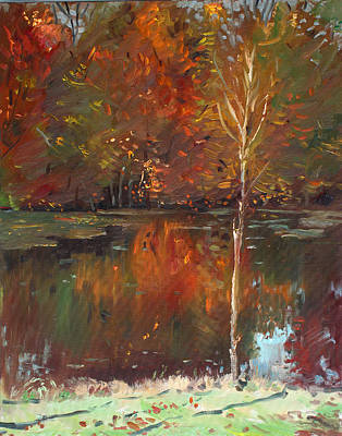Autumn Landscape Painting - Fall Reflection by Ylli Haruni