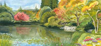Fall Reflections Butchart Gardens Print by Vidyut Singhal