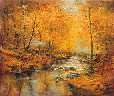 Babbling Brook Painting - Fall Reflections by Lynne Pittard