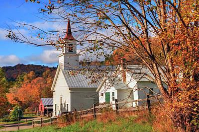 Fall Scene - North Tunbridge Vermont Print by Joann Vitali