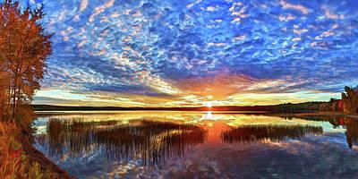 Manipulation Photograph - Fall Sunset At Round Lake Panorama by Bill Caldwell -        ABeautifulSky Photography