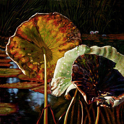 Lotus Leaves Painting - Fall Trinity by John Lautermilch