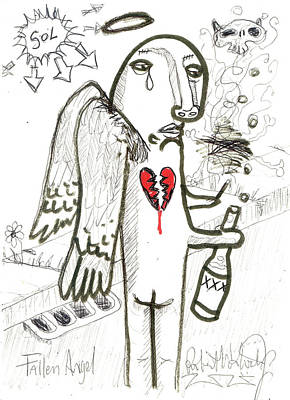 Abstract Hearts Drawing - Fallen Angel by Robert Wolverton Jr
