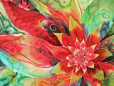 Fiber Art Painting - Falling Flower by Deborah Younglao