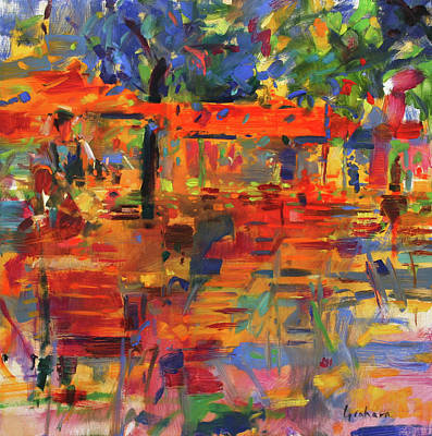 Dining Out Painting - Falling Leaves, Paris by Peter Graham