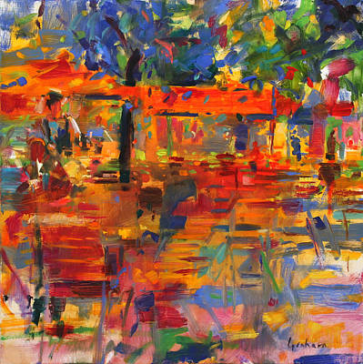 Table And Chairs Painting - Falling Leaves by Peter Graham