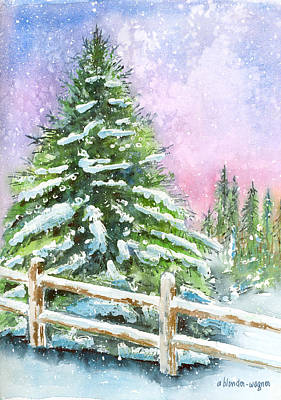 Snow Scene Painting - Falling Snowflakes by Arline Wagner
