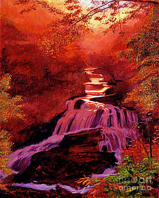 Falls Of Fire Print by David Lloyd Glover