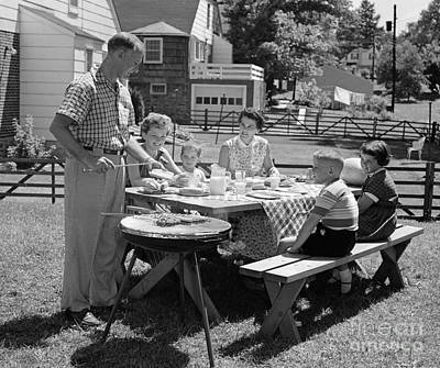Family Cooking Out, C.1950s Print by H. Armstrong Roberts/ClassicStock