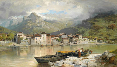 Italian Landscape Painting - Family Fisherman In Lecco On Lake Como by Ercole Calvi