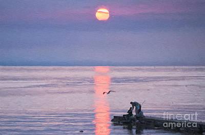 Sweden Digital Art - Family Fishing Sunset Digital Painting by Antony McAulay