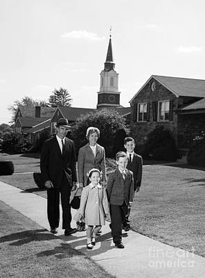 Family Leaving Church, C.1960s Print by H. Armstrong Roberts/ClassicStock