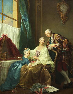 Family Portrait Print by Francois-hubert Drouais
