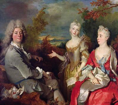 Partridge Painting - Family Portrait by Nicolas de Largilliere