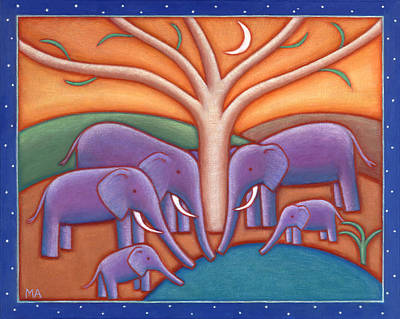 Whimsical Animals Painting - Family Tree by Mary Anne Nagy