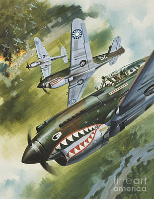 Bass Painting - Famous Aircraft And Their Pilots by Wilf Hardy