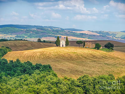 Famous Chapel On Tuscan Hills Print by JR Photography