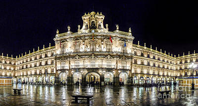 Architecture Photograph - Famous Plaza Mayor In Salamanca At Night by JR Photography