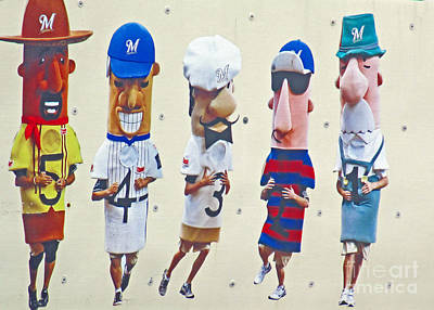 Famous Racing Sausages Print by Kay Novy