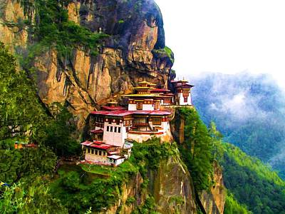 Bhutan Painting - Famous Tigers Nest Monastery Of Bhutan 11 by Lanjee Chee