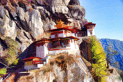 Bhutan Painting - Famous Tigers Nest Monastery Of Bhutan 6 by Lanjee Chee