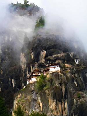 Bhutan Painting - Famous Tigers Nest Monastery Of Bhutan 9 by Lanjee Chee