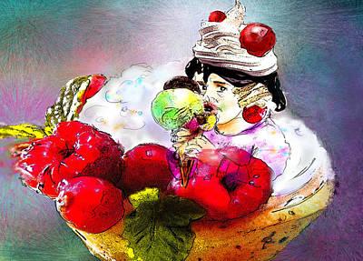 Fancy An Icecream With Me Print by Miki De Goodaboom