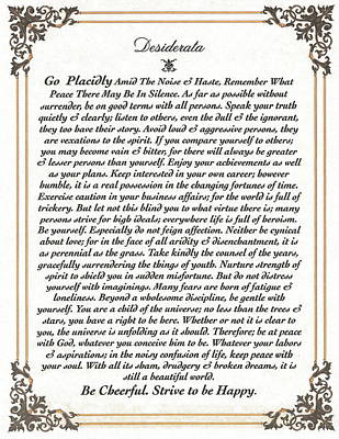 Desiderata Mixed Media - Fancy Border Desiderata by Desiderata Gallery