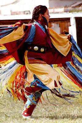 Native American Woman Digital Art - Fancy Shawl Dancer by Terril Heilman