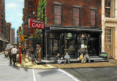 Corner Cafe Painting - Fanelli Cafe by Ted Papoulas