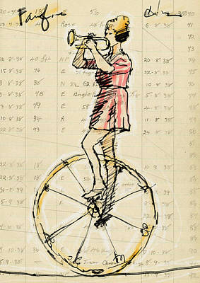 Tightrope Drawing - Fanfare by H James Hoff