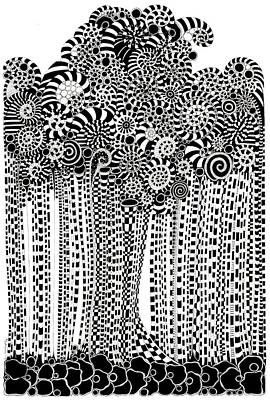 Op Art Drawing - Fantasmagorical Tree by Marian Fannon Christian
