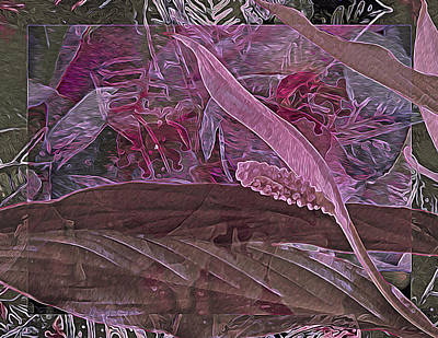 Fantasy African Violets And Peace Lily Pink, Red And Pink Print by Lynda Lehmann