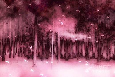 Fantasy Fairytale Pink Mauve Woodlands Trees Nature - Fairytale Woodlands Forest Print by Kathy Fornal
