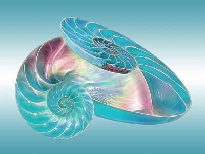 Fantasy Seashells Entwined Print by Gill Billington