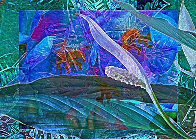 Fantasy With African Violets And Peace Lily 42 Print by Lynda Lehmann