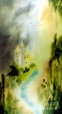 Far Pavilions Painting - Far Pavilions A Romantic Watercolor Of A Castle By A River by Phil Albone