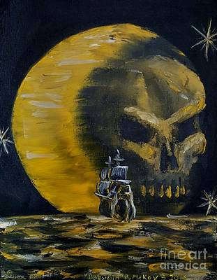 Pirate Ship Painting - Farewell Captain Moon by Ross McKay