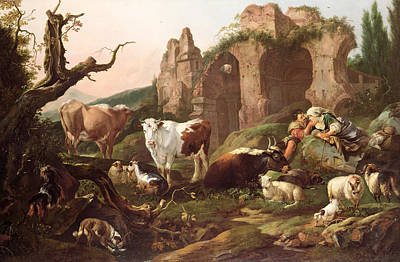 Dog In Landscape Painting - Farm Animals In A Landscape by Johann Heinrich Roos