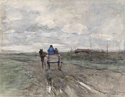 Drawing - Farm Cart On A Country Road by Anton Mauve
