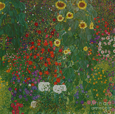 Expressionist Art Painting - Farm Garden With Flowers by Gustav Klimt
