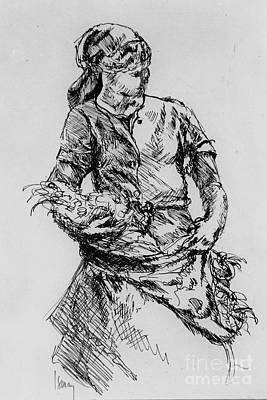 Rod Ismay Drawing - Farm Girl by Rod Ismay