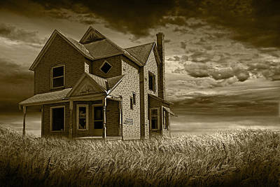 Farm House At Sunset In Sepia Print by Randall Nyhof
