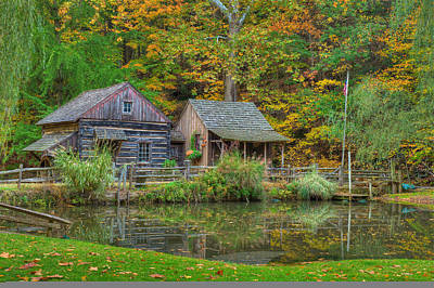 Log Cabins Photograph - Farm In Woods by William Jobes