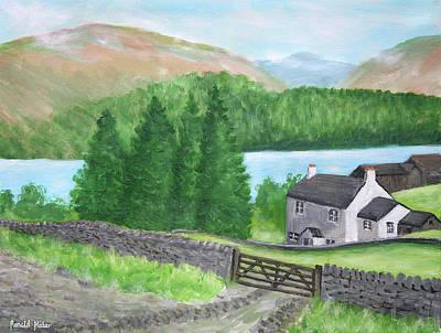 Farm Painting - Farm On Lake Ullswater by Ronald Haber