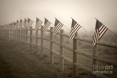 Farm With Fence And American Flags Print by Jim Corwin
