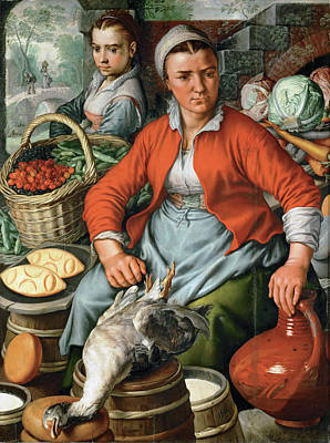 Painting - Farm Woman At The Market by Joachim Beuckelaer