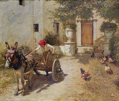 Roosters Painting - Farm Yard Scene by Henry Herbert La Thangue